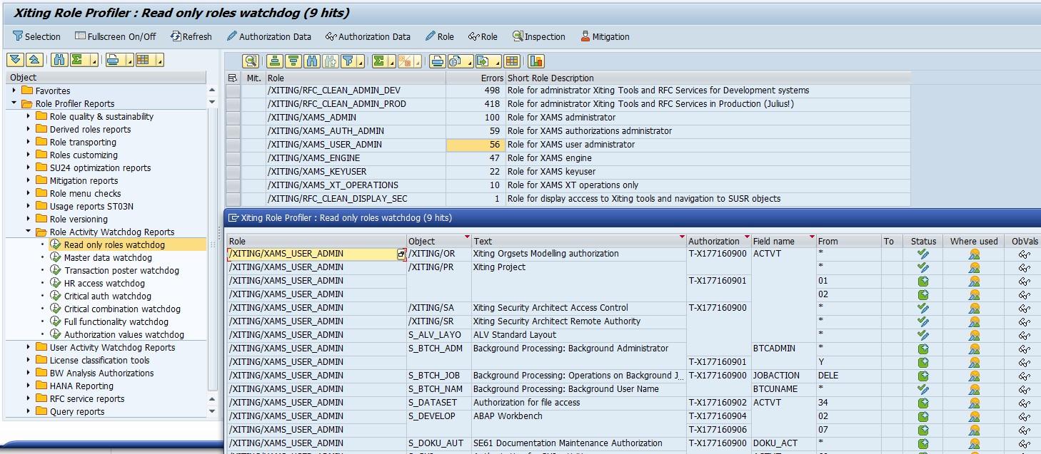 XAMS Role Profiler Activity Watchdogs