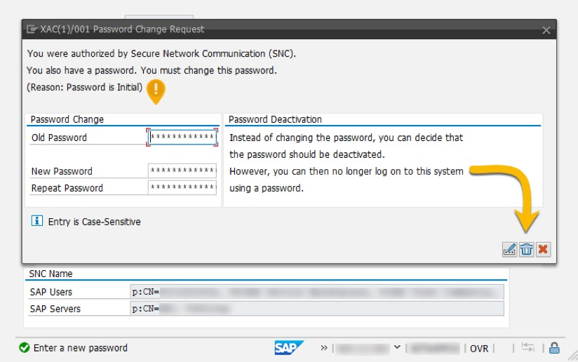 SAP Change Password Request