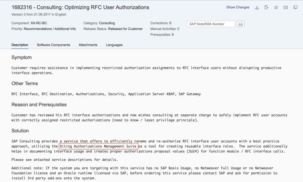 OSS Note 1682316 - Optimizing RFC User Authorizations
